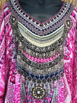 Bohemian Sheer Chiffon Pink/Multi Embellished Kaftan/Tunic One Size Fits All 14 to 20