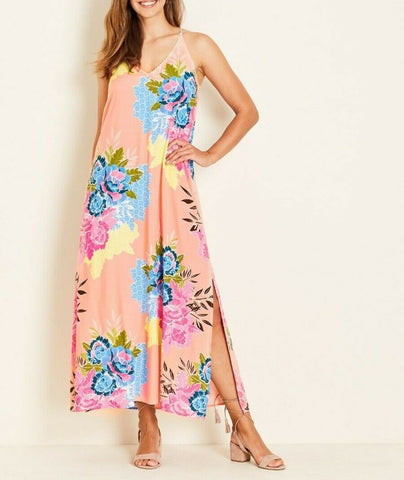 Crossroads Floral Lace Trim Spaghetti Strap Maxi Dress