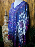 Plus Size Paisley Print Sheer Embellished/Rhinestones Kaftan Print One Size Fits All 16 to 20