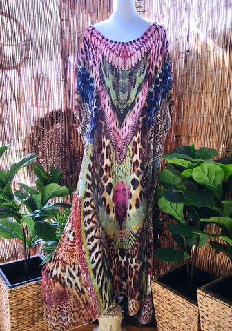 Plus Size Mix Maxi Very Long Sheer Embellished Kaftan One Size Fits All 16 to 20