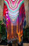 Plus Size Sheer Chiffon Embellished Kaftan Digital Printed One Size Fits All 18 to 24