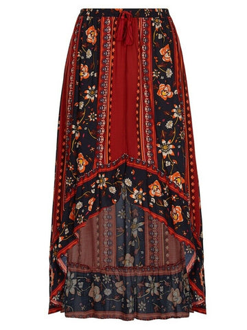 Crossroads Earth Tones Gypsy Floral Maxi Skirt