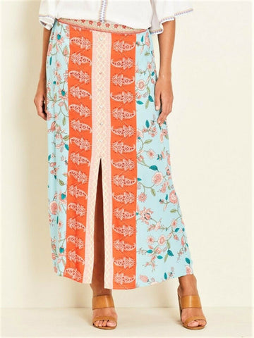 Crossroads Bohemian Floral Button Maxi Skirt With Front Buttons