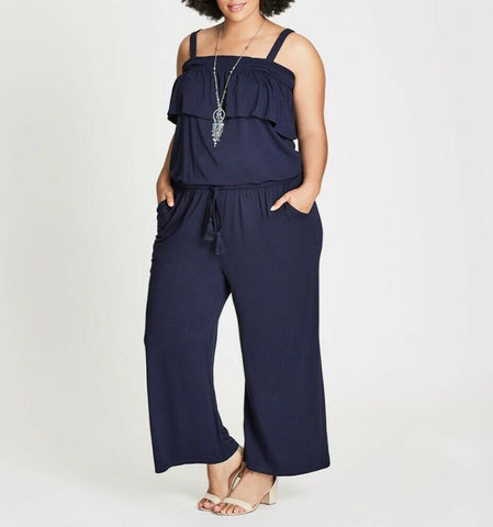 Autograph Viscose Stretch Navy Blue Two Way Jumpsuit Drawstring Waist Size 24