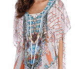 Plus Size Maxi Dress Long Print Sheer Embellished Kaftan One Size Fits All 16 to 22