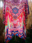 Loose Pink/Multi Colour Sheer Embellished Kaftan Digital Print One Size Fits All 14 to 20