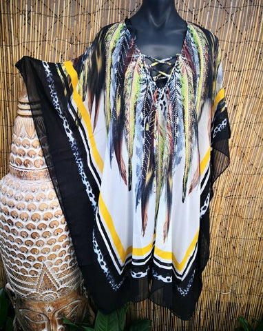 Sheer Embellished Drawstring Feather Kaftan One Size Fits All 10 to 12