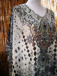 Loose Fitting Sheer Embellished Kaftan Digital Print One Size Fits All 16 to 22