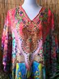 Plus Size Loose Sheer Embellished Kaftan Digital Print One Size Fits All 16 to 24