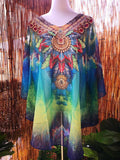 Plus Size Blue/Green Sheer Embellished Short Kaftan Round Hem Bohemian Style One Size Fits All 14 to 20