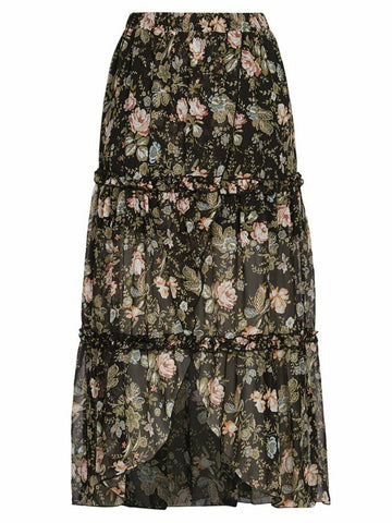 Crossroads Floral Cross Over Tiered Maxi Skirt