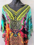 Bright Sheer Chiffon Embellished Kaftan Digital Printed One Size Fits All 16 to 26