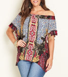 Crossroads Boho Paisley Mix Print Off The Shoulder Frill Sleeve Hemline