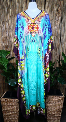 Plus Size Satin-Like Embellished Long Kaftan Dress One Size Fits All 16 to 26