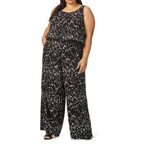 Beme Viscose Black Sleeveless Print Wide Leg Jumpsuit With Adjustable Strap Size 22