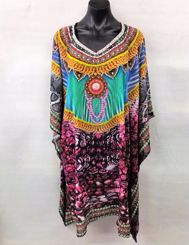 Sheer Chiffon Poly Embellished Kaftan Digital Printed One Size Fits All 16 to 24