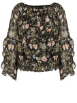 Crossroads Black Chic Design Floral Off The Shoulders Ruffle Sleeves Top