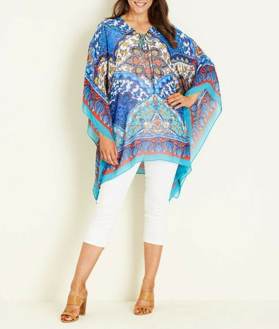Crossroads Sheer Blue Kaftan Embellished Top One Size 12 to 16 or S/M