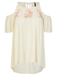 Crossroads Cream/Beige Floral Embroidered Bohemian Cold Shoulder Top Size 20