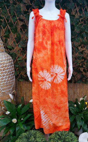 Plus Size Orange Mix Tie Dye Maxi Dress With Adjustable Shoulders One Size Fits All 16 to 20