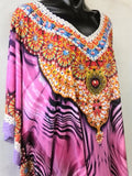 Sheer Chiffon Poly Embellished Kaftan Digital Printed One Size Fits All 14 to 24