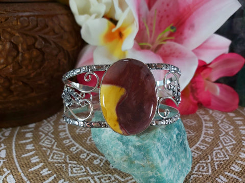 Mookaite Mother Earth Bangle 925 Sterling Silver Plated  (B41)