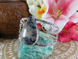 Sodalite Intuition Gemstone Bangle 925 Sterling Silver Plated  (B44)