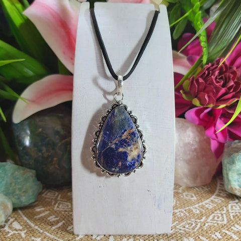 Sodalite Self-Acceptance Gemstone Pendant 925 Sterling Silver Plated (E1146)