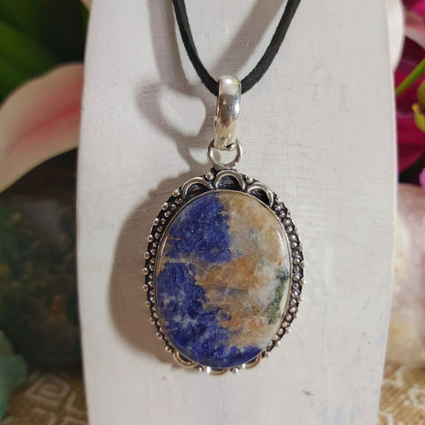 Sodalite Self-Acceptance Gemstone Pendant 925 Sterling Silver Plated (E1147)