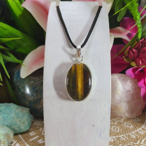 Tiger Eye Earth Star Gemstone Pendant Necklace 925 Sterling Silver Plated  (E1151)