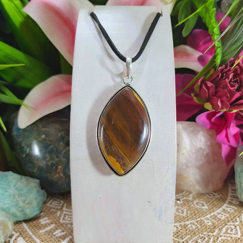 Tiger Eye Earth Star Gemstone Pendant Necklace 925 Sterling Silver Plated  (E1152)