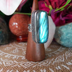 Labradorite Psychic Protection Gemstone Ring US 8.5 (E1202)