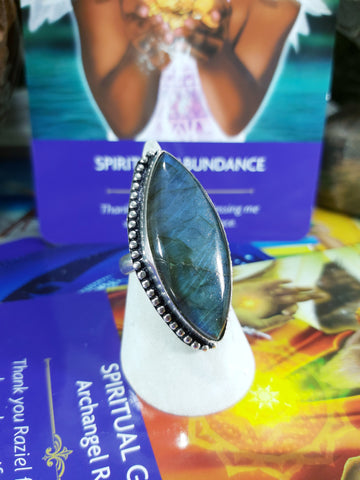 Labradorite Ring 925 Sterling Silver Plated US 8.5 (E173)