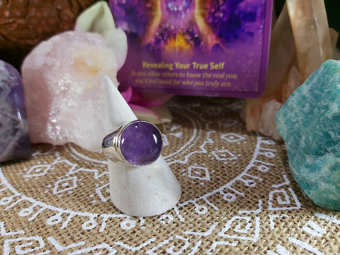 Amethyst Soul Star Ring Size US 9 (E329)