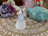 Rainbow Moonstone Ring 925 Sterling Silver Plated Size US 8.5 (E451)