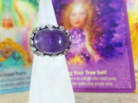 Amethyst Ring 925 Sterling Silver Plated US 7 (E70)