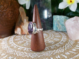 Charoite Spiritual Path Ring 925 Sterling Silver Plated Size US 9 (E776)