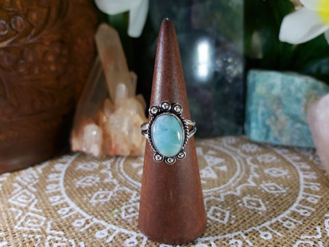 Larimar Emotional Healing Ring 925 Sterling Silver Plated US 8.5 (E803)