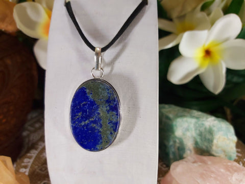Lapis Lazuli Pendant 925 Sterling Silver Plated (E832)
