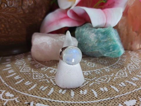 Rainbow Moonstone Compassion Ring 925 Sterling Silver Plated Size US 8 (E949)