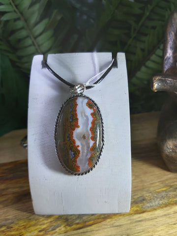 Crazy Lace Agate Pendant 925 Sterling Silver Plated (JPA20)