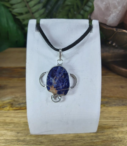 Sodalite Pendant 925 Sterling Silver Plated (JPSO10)