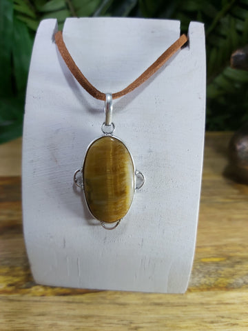 Tiger Eye Pendant 925 Sterling Silver Plated (JPTE10)