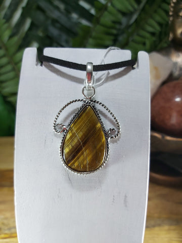 Tiger Eye Pendant 925 Sterling Silver Plated (JPTE13)