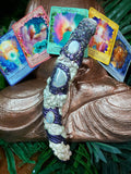 Agate, Moonstone, & Rose Quartz Crystal Wand (#0048)