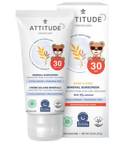 ATTITUDE Fragrance-free Kids Mineral Sunscreen SPF 30 2.6 OZ - Enriched with oatmeal _en?_main?