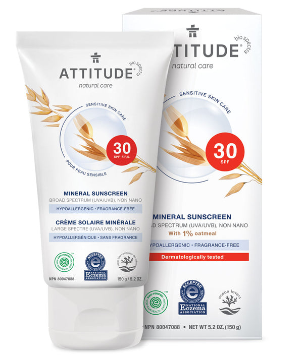 ATTITUDE Fragrance-free Mineral Sunscreen SPF 30 5.2 OZ - Enriched with oatmeal _en?_main?