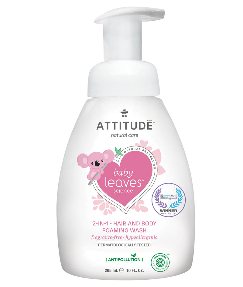 ATTITUDE baby leaves™ 2-in-1 Hair and Body Foaming Wash Fragrance-free _en?_main?