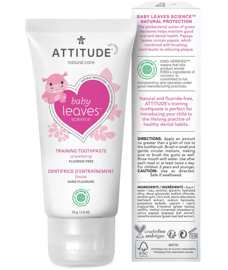 ATTITUDE baby leaves™ Fluoride free Training Toothpaste Strawberry _en?_hover?