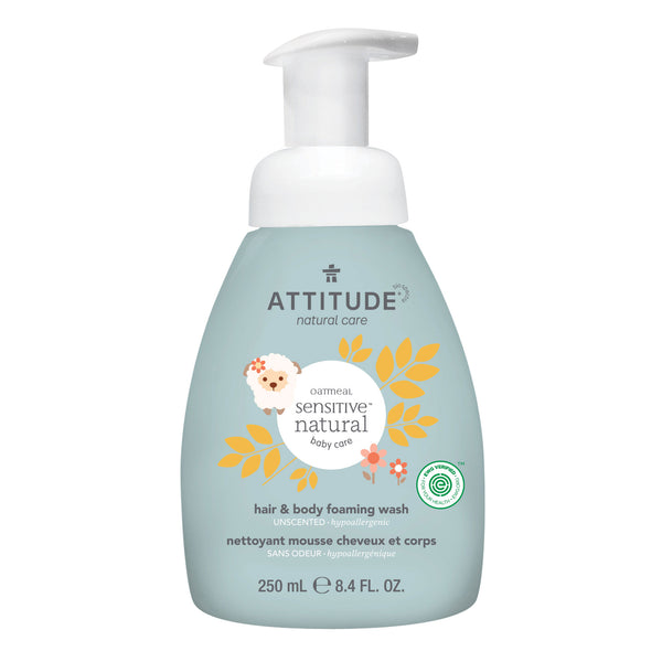 Natural Hair and Body Foaming Wash ATTITUDE, Baby Sensitive Skin, Enriched with oatmeal, unscented_en?_main?
